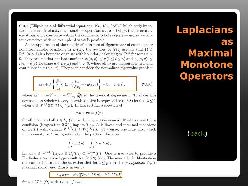 Laplacians as Maximal Monotone Operators (back)