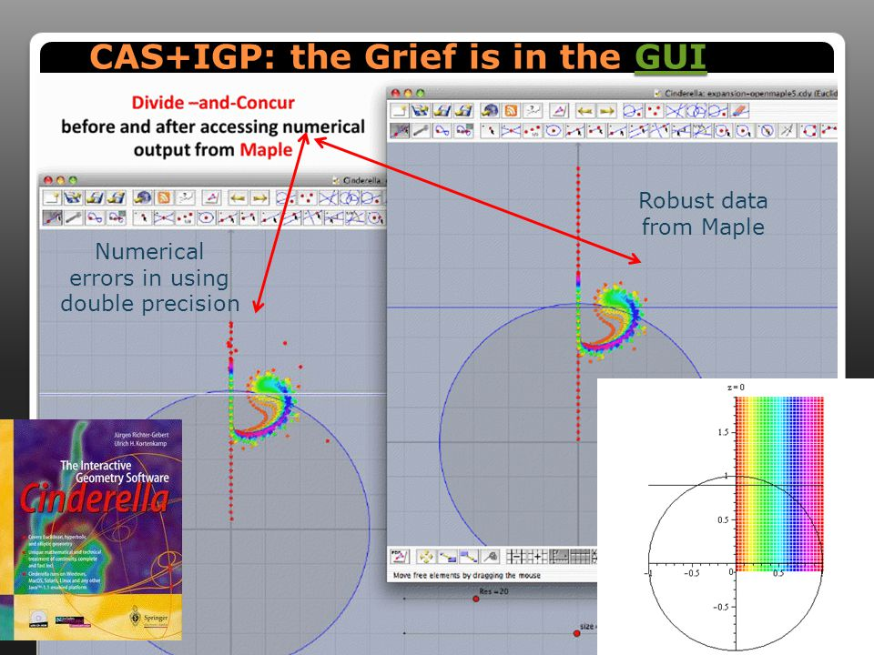 CAS+IGP: the Grief is in the GUI GUI Numerical errors in using double precision Robust data from Maple