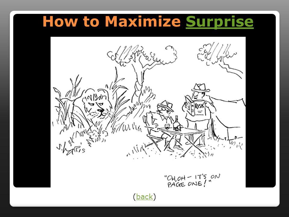 How to Maximize Surprise How to Maximize SurpriseSurprise (back)back