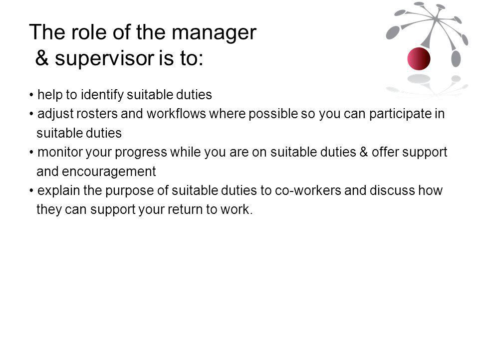 The role of the manager & supervisor is to: help to identify suitable duties adjust rosters and workflows where possible so you can participate in suitable duties monitor your progress while you are on suitable duties & offer support and encouragement explain the purpose of suitable duties to co-workers and discuss how they can support your return to work.