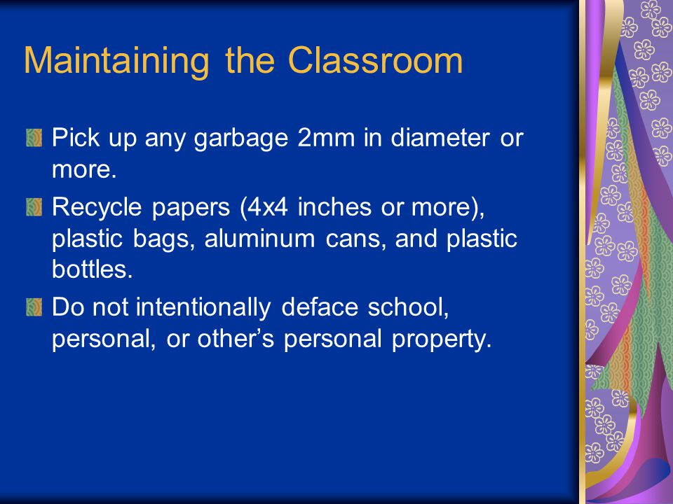 Maintaining the Classroom Pick up any garbage 2mm in diameter or more.