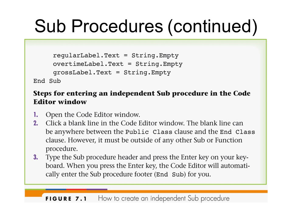 Independent Sub procedures: –Have a procedure header and procedure footer –Use Pascal case for names –Optionally contain a parameter list Parameters: –Declared in the procedure header –Store the information passed into the procedure when it is invoked Call statement: invokes an independent Sub procedure –Syntax: Call procedure name([argumentlist])