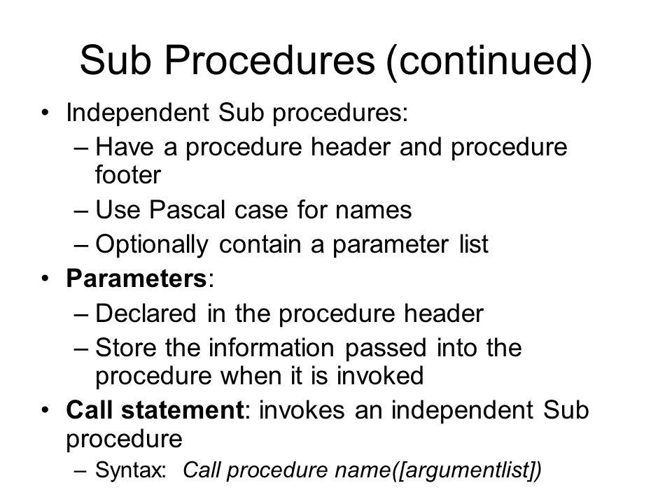 Function Procedures (continued)