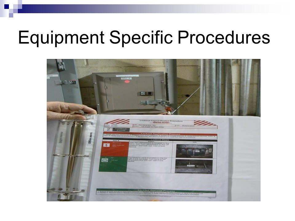 Energy control procedure Notification of employees Preparation for shutdown Machine or equipment shutdown Machine or equipment isolation Lockout/tagou