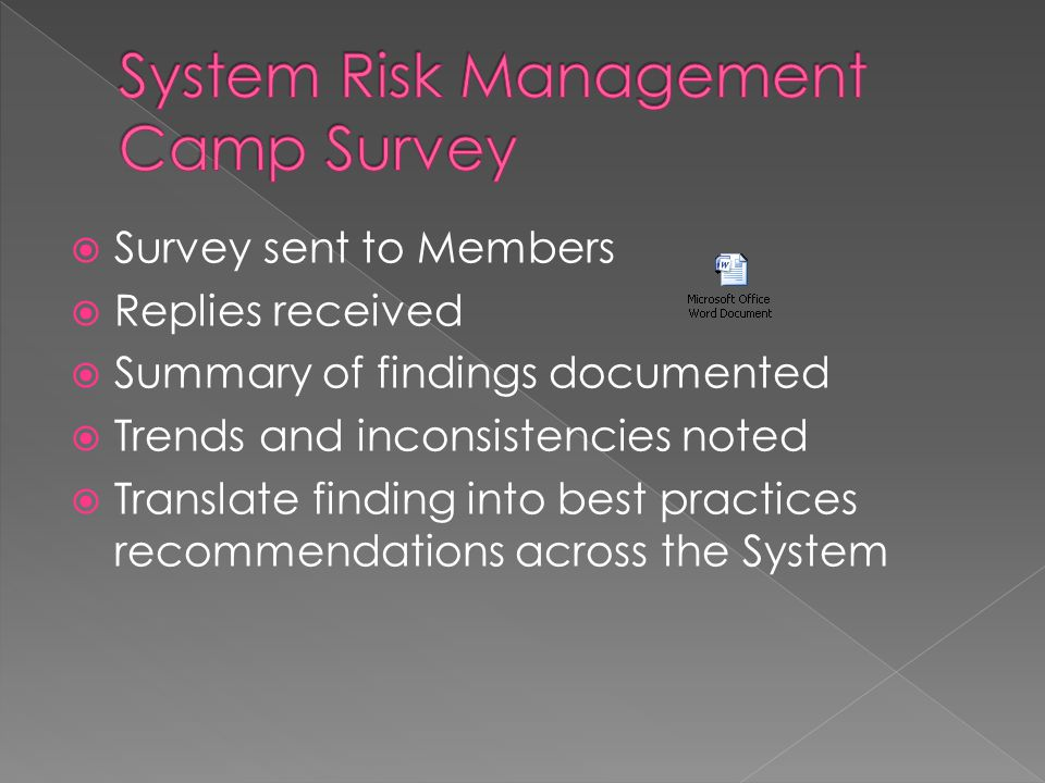  Survey sent to Members  Replies received  Summary of findings documented  Trends and inconsistencies noted  Translate finding into best practices recommendations across the System