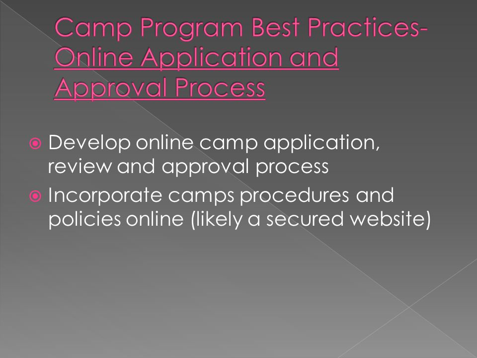  Develop online camp application, review and approval process  Incorporate camps procedures and policies online (likely a secured website)