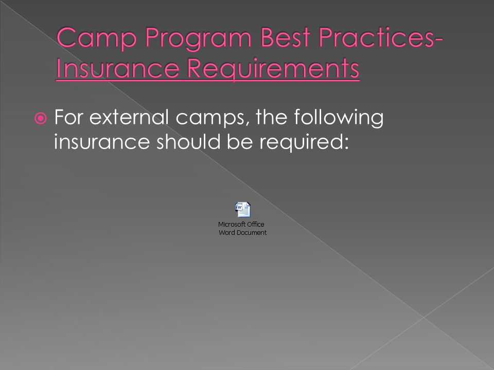 For external camps, the following insurance should be required: