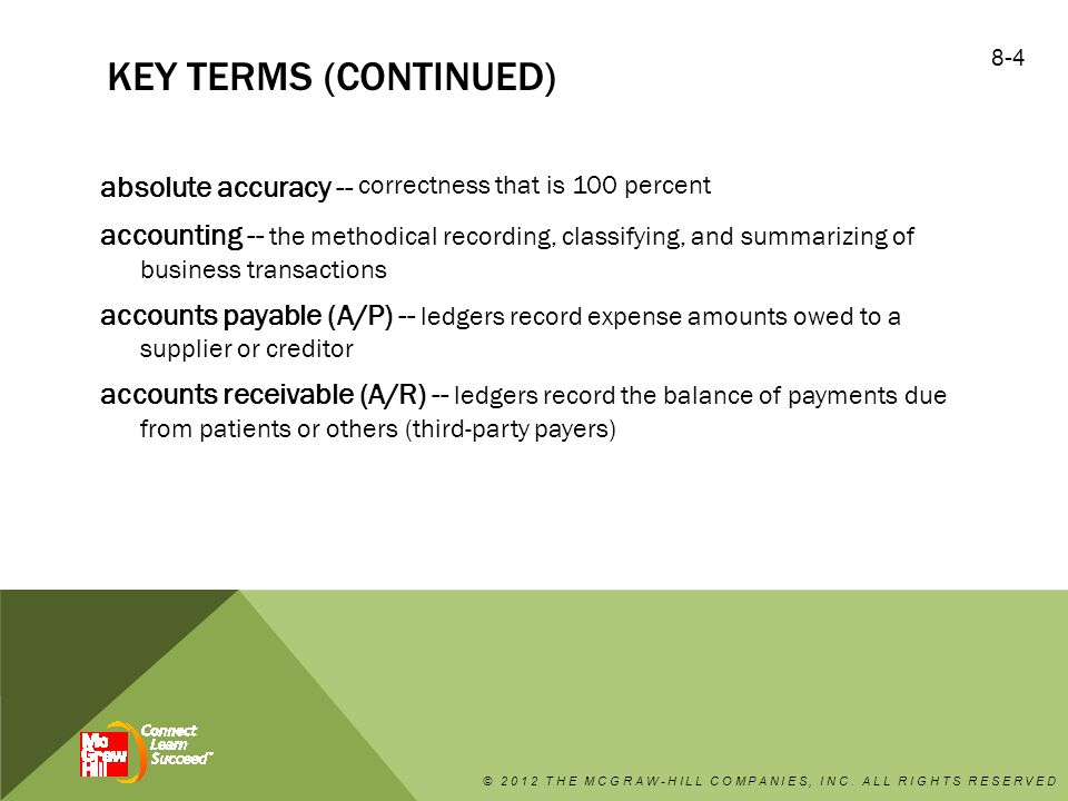 KEY TERMS (CONTINUED) accrual method -- income is recorded as soon as it is earned, whether or not the payment is received, and expenses are recorded when they are incurred aging reports -- This analysis lists the amounts of money owed to the practice, and the report is organized according to the number of days annual summary -- provides the monthly charges and payments for an entire year audit -- review of all financial data in order to ensure the accuracy and completeness of the data © 2012 THE MCGRAW-HILL COMPANIES, INC.