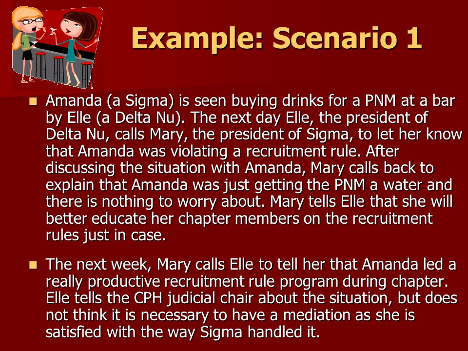 Example: Scenario 1 Amanda (a Sigma) is seen buying drinks for a PNM at a bar by Elle (a Delta Nu).