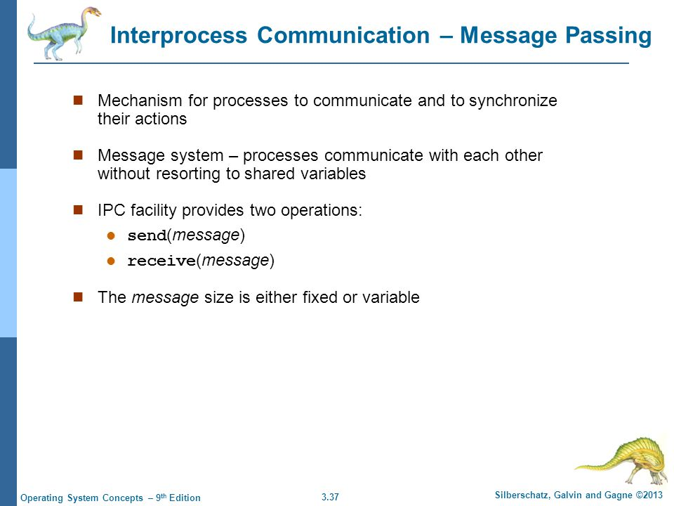 3.37 Silberschatz, Galvin and Gagne ©2013 Operating System Concepts – 9 th Edition Interprocess Communication – Message Passing Mechanism for processe