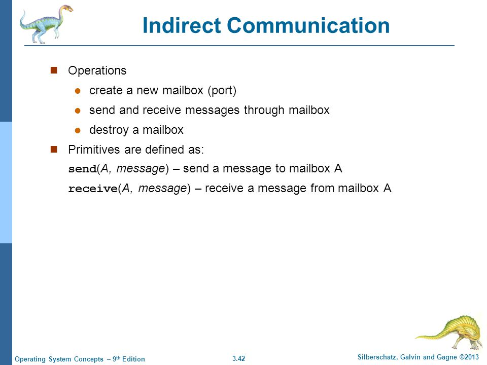 3.42 Silberschatz, Galvin and Gagne ©2013 Operating System Concepts – 9 th Edition Indirect Communication Operations create a new mailbox (port) send