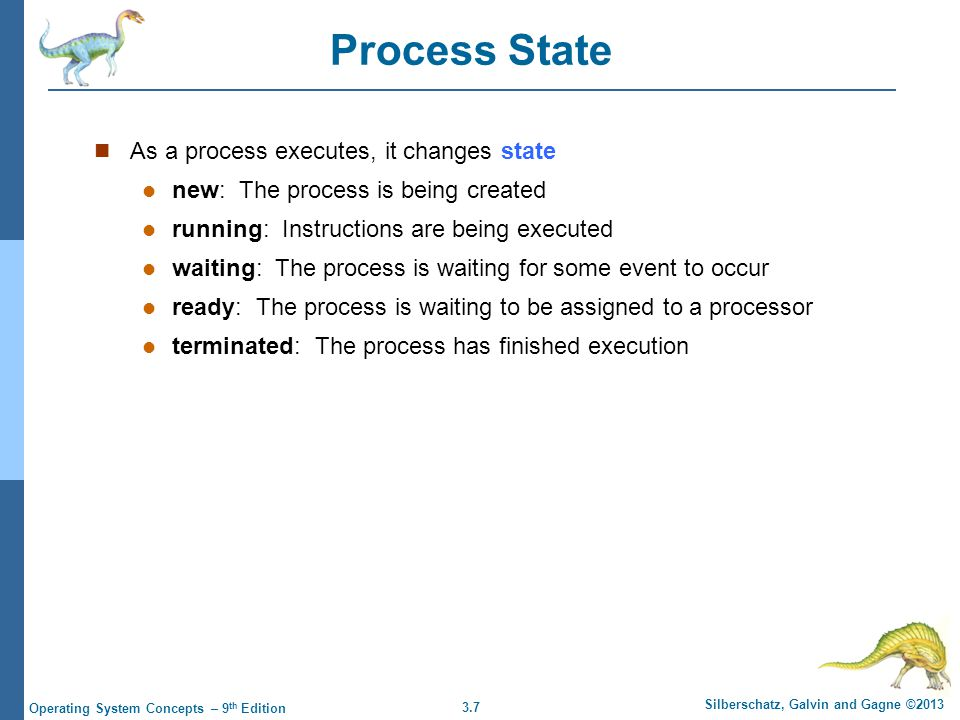 3.7 Silberschatz, Galvin and Gagne ©2013 Operating System Concepts – 9 th Edition Process State As a process executes, it changes state new: The proce