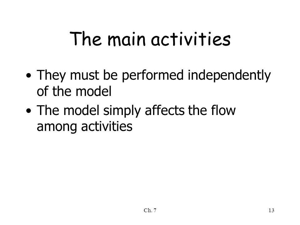 Ch. 713 The main activities They must be performed independently of the model The model simply affects the flow among activities