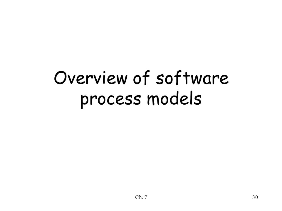 Ch. 730 Overview of software process models