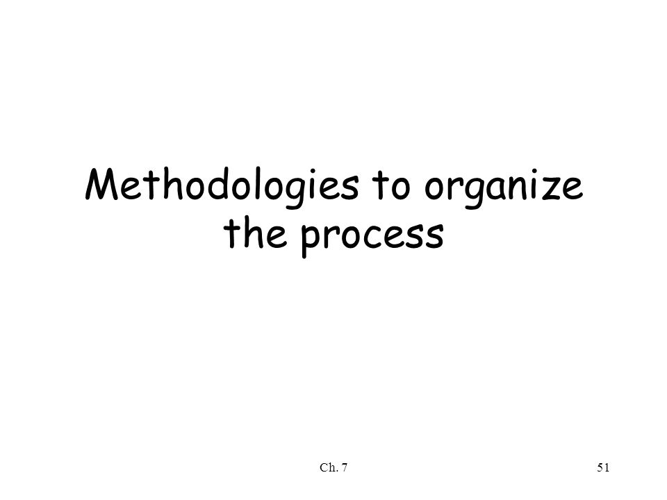 Ch. 751 Methodologies to organize the process