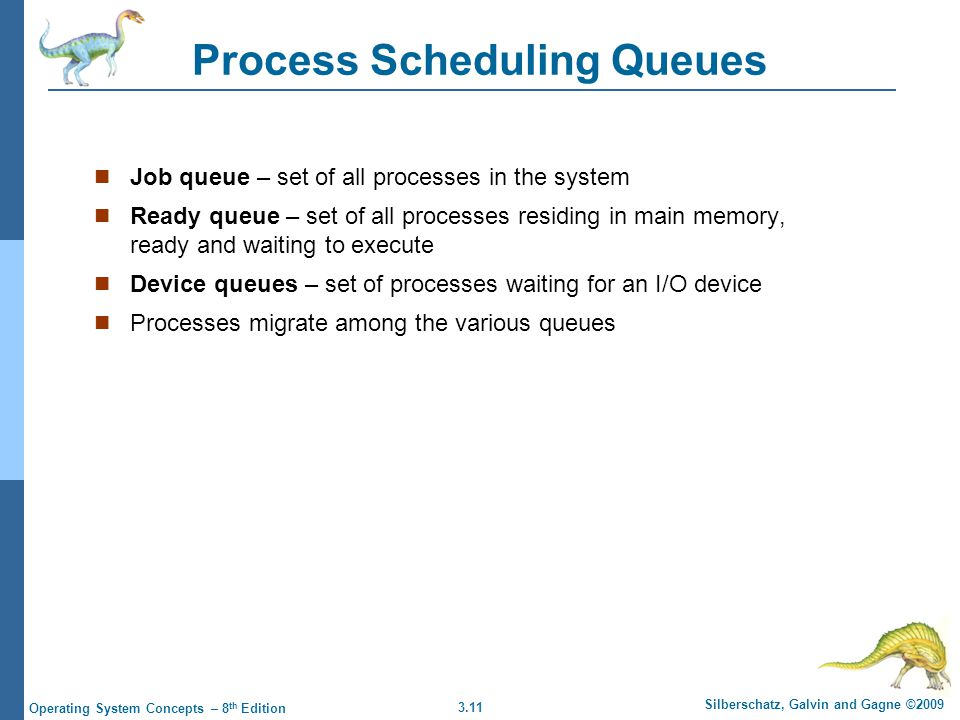 3.11 Silberschatz, Galvin and Gagne ©2009 Operating System Concepts – 8 th Edition Process Scheduling Queues Job queue – set of all processes in the s