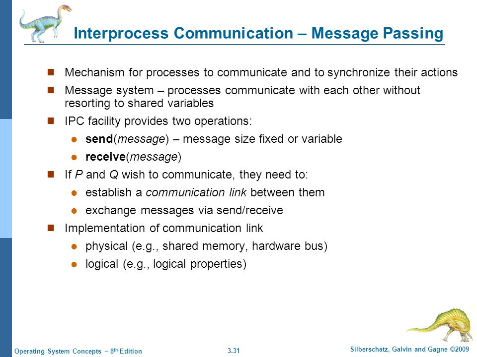 3.31 Silberschatz, Galvin and Gagne ©2009 Operating System Concepts – 8 th Edition Interprocess Communication – Message Passing Mechanism for processe