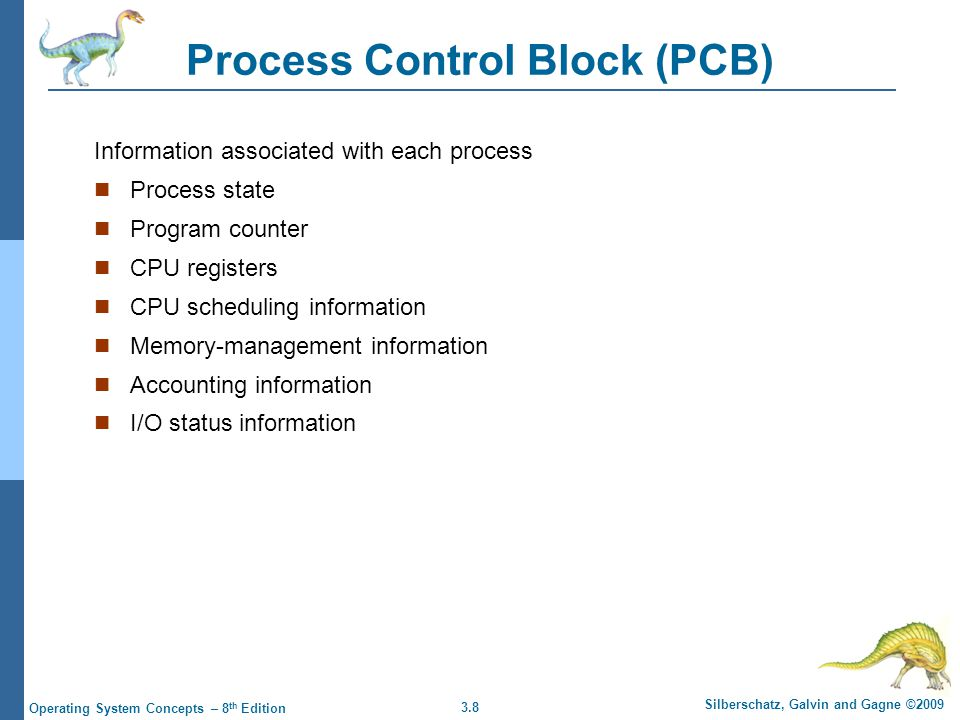 3.8 Silberschatz, Galvin and Gagne ©2009 Operating System Concepts – 8 th Edition Process Control Block (PCB) Information associated with each process