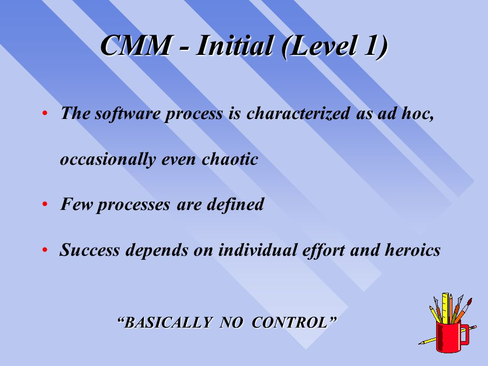 CMM - Repeatable (Level 2) Basic project management processes are established to track cost, schedule, and functionality The necessary process discipline is in place to repeat earlier successes on projects with similar applications Success achieved through basic project management; not advanced technologies BASIC MANAGEMENT CONTROL