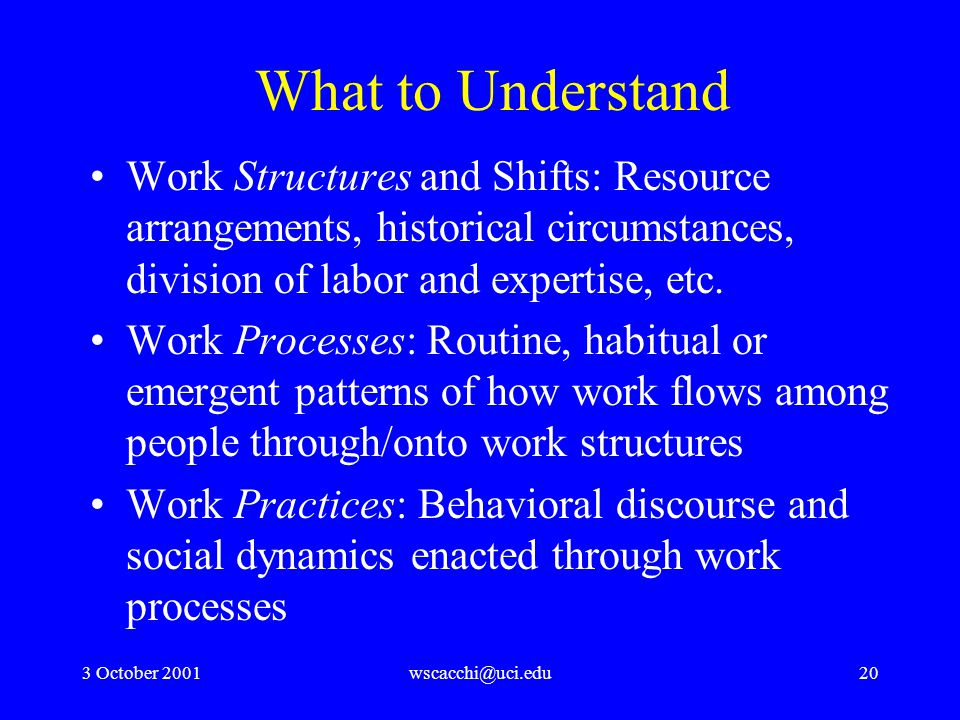 3 October 2001wscacchi@uci.edu20 What to Understand Work Structures and Shifts: Resource arrangements, historical circumstances, division of labor and expertise, etc.