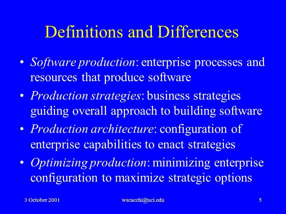 3 October 2001wscacchi@uci.edu16 As-is vs. to-be process