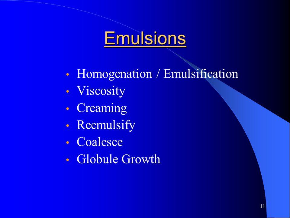 11 Emulsions Homogenation / Emulsification Viscosity Creaming Reemulsify Coalesce Globule Growth