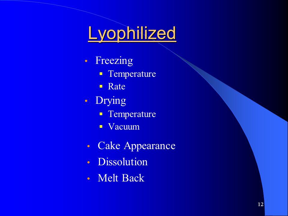 12 Lyophilized Freezing  Temperature  Rate Drying  Temperature  Vacuum Cake Appearance Dissolution Melt Back