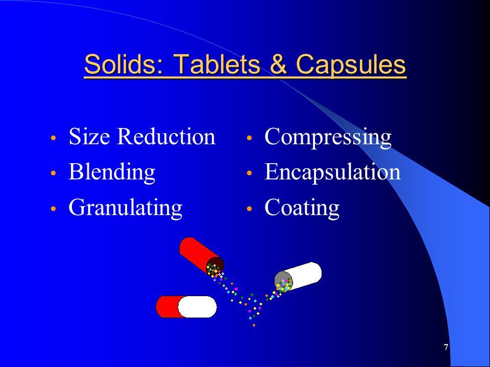7 Solids: Tablets & Capsules Size Reduction Blending Granulating Compressing Encapsulation Coating