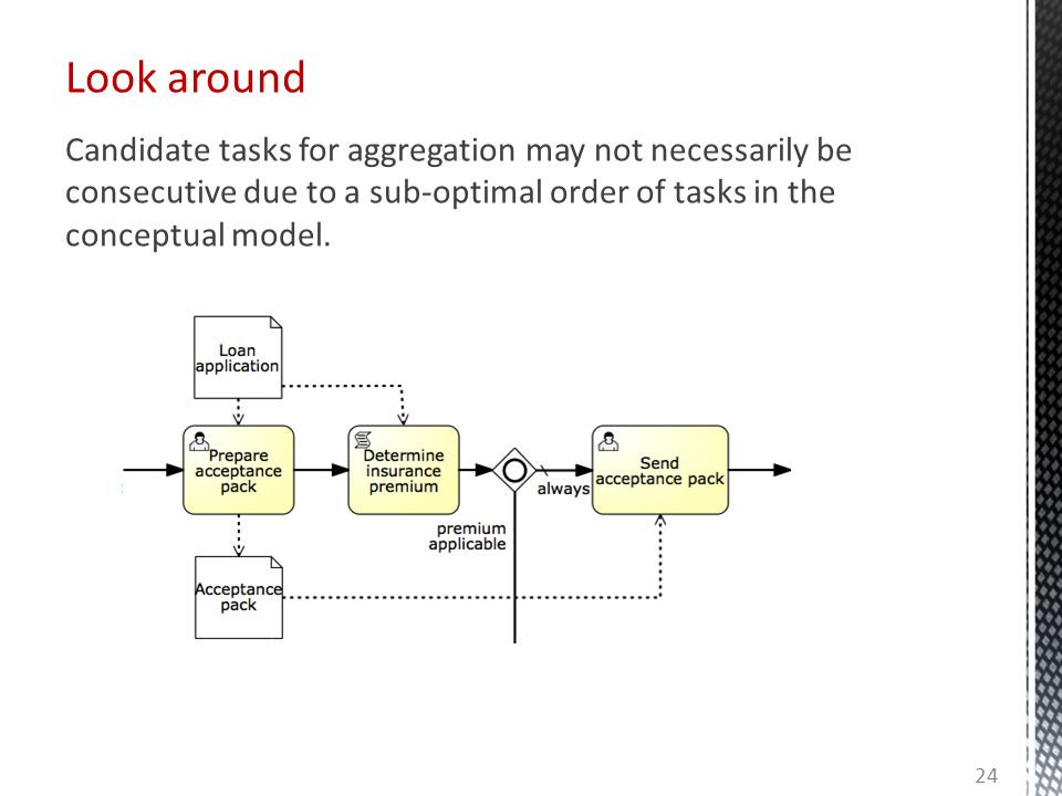 Look around 24 Candidate tasks for aggregation may not necessarily be consecutive due to a sub-optimal order of tasks in the conceptual model.