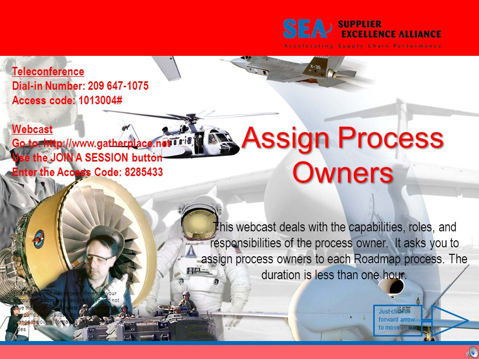 Assign Process Owners This webcast deals with the capabilities, roles, and responsibilities of the process owner.