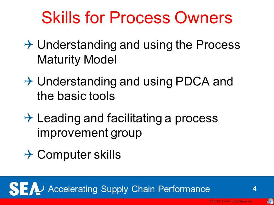 Accelerating Supply Chain Performance Skills for Process Owners  Understanding and using the Process Maturity Model  Understanding and using PDCA and the basic tools  Leading and facilitating a process improvement group  Computer skills SEA 2011 All Rights Reserved 4