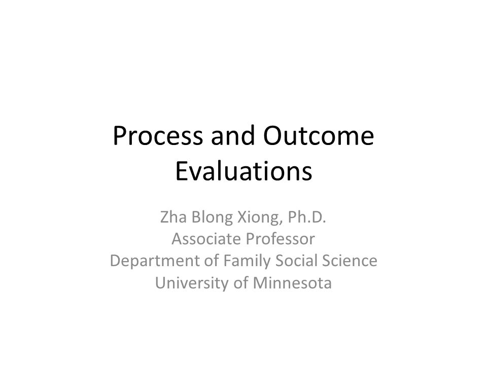 Process and Outcome Evaluations Zha Blong Xiong, Ph.D.