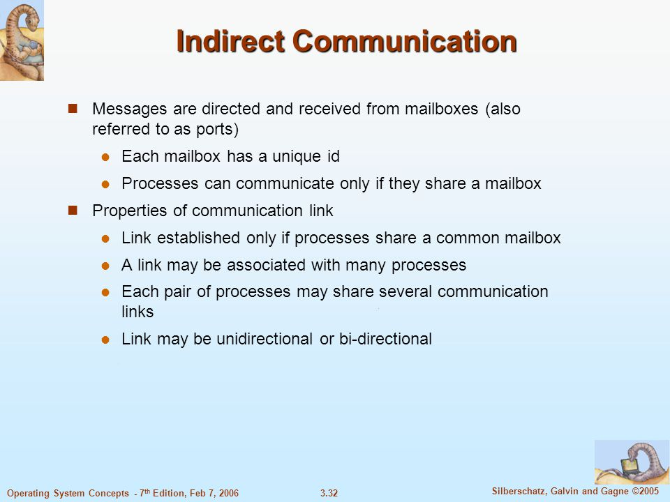 3.32 Silberschatz, Galvin and Gagne ©2005 Operating System Concepts - 7 th Edition, Feb 7, 2006 Indirect Communication Messages are directed and recei