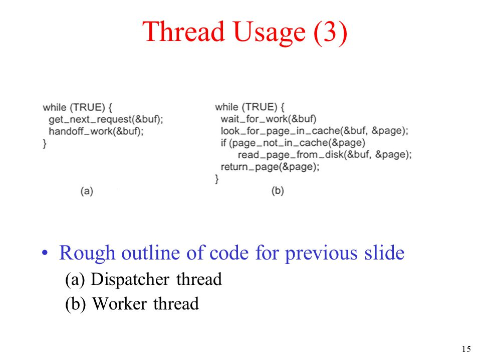15 Thread Usage (3) Rough outline of code for previous slide (a) Dispatcher thread (b) Worker thread