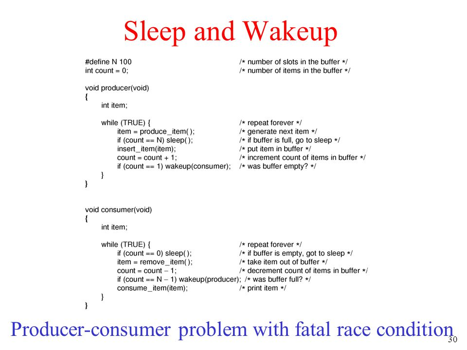 30 Sleep and Wakeup Producer-consumer problem with fatal race condition