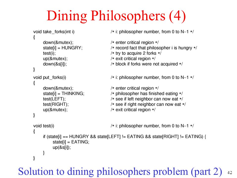 42 Dining Philosophers (4) Solution to dining philosophers problem (part 2)