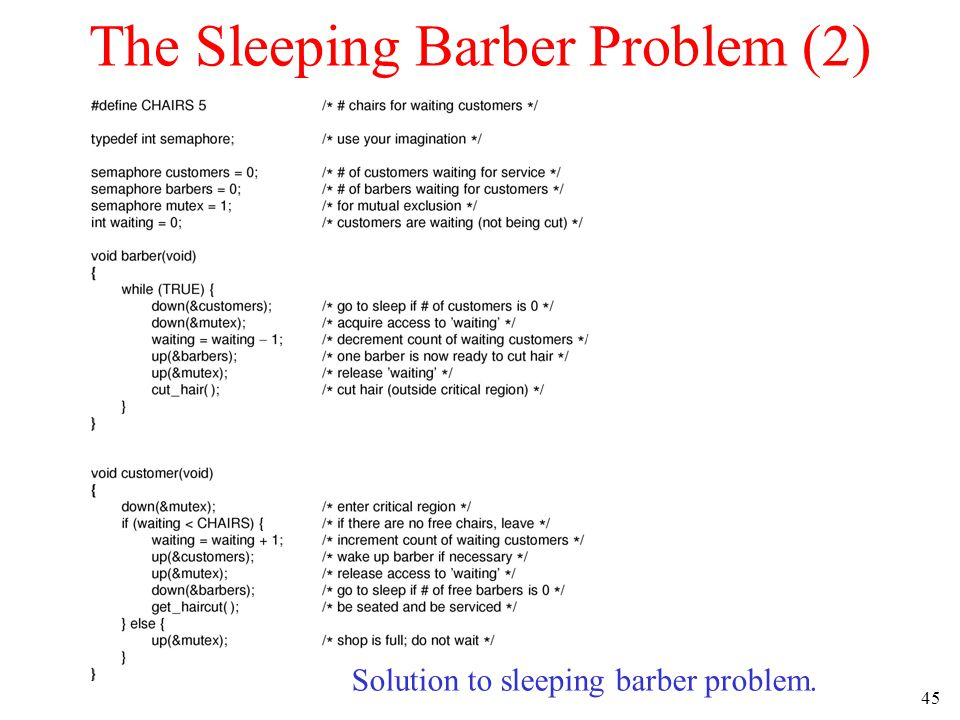 45 The Sleeping Barber Problem (2) Solution to sleeping barber problem.