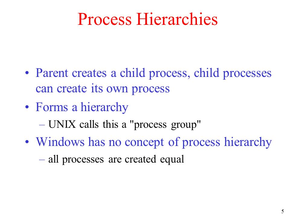 5 Process Hierarchies Parent creates a child process, child processes can create its own process Forms a hierarchy –UNIX calls this a process group Windows has no concept of process hierarchy –all processes are created equal