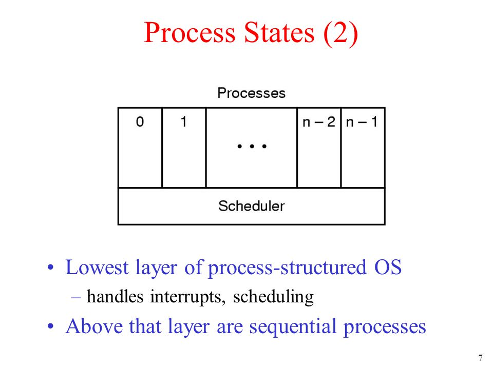 7 Process States (2) Lowest layer of process-structured OS –handles interrupts, scheduling Above that layer are sequential processes