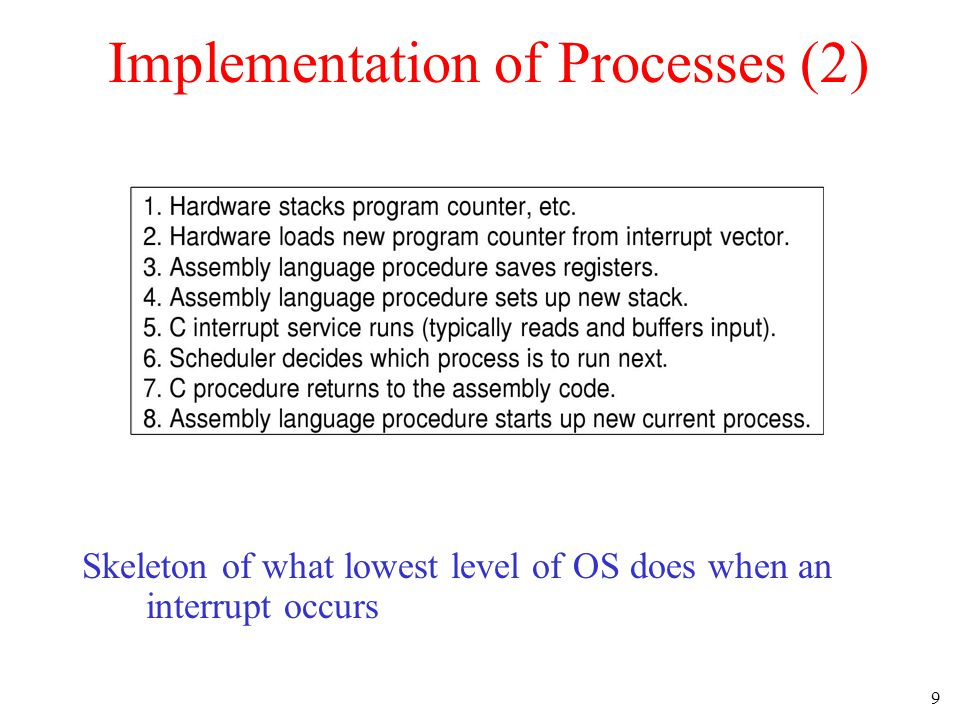 9 Implementation of Processes (2) Skeleton of what lowest level of OS does when an interrupt occurs