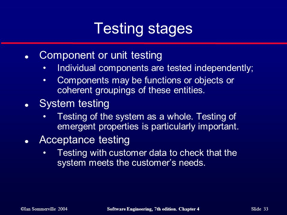 ©Ian Sommerville 2004Software Engineering, 7th edition. Chapter 4 Slide 33 Testing stages l Component or unit testing Individual components are tested