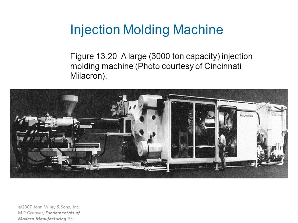 ©2007 John Wiley & Sons, Inc. M P Groover, Fundamentals of Modern Manufacturing 3/e Injection Molding Machine Figure 13.20 A large (3000 ton capacity)