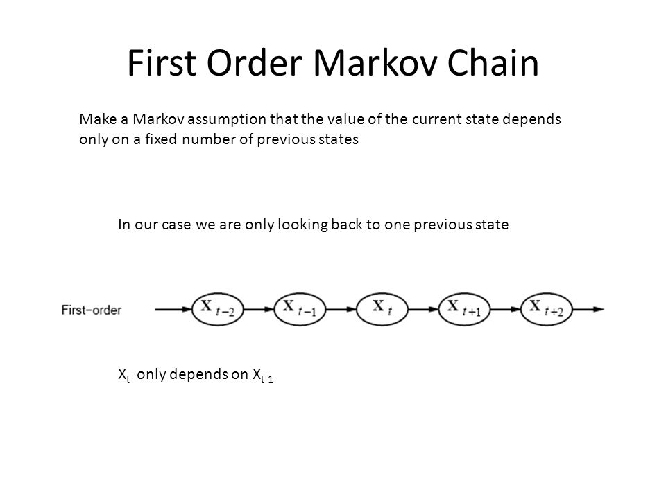 First Order Markov Chain Make a Markov assumption that the value of the current state depends only on a fixed number of previous states In our case we