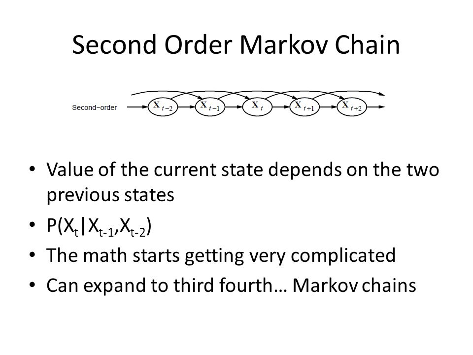 Second Order Markov Chain Value of the current state depends on the two previous states P(X t  X t-1,X t-2 ) The math starts getting very complicated