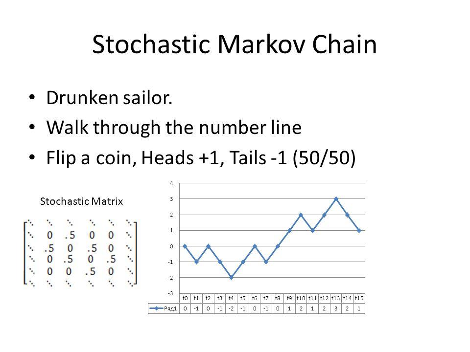 Stochastic Markov Chain Drunken sailor. Walk through the number line Flip a coin, Heads +1, Tails -1 (50/50) Stochastic Matrix