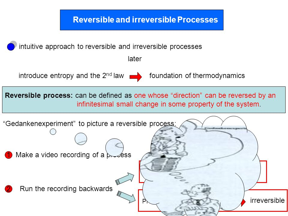 Reversible and irreversible Processes introduce entropy and the 2 nd law intuitive approach to reversible and irreversible processes later foundation of thermodynamics Reversible process: can be defined as one whose direction can be reversed by an infinitesimal small change in some property of the system.