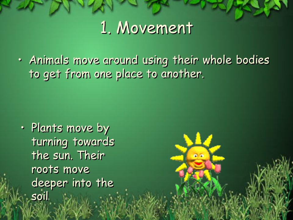 1. Movement Animals move around using their whole bodies to get from one place to another. Plants move by turning towards the sun. Their roots move de