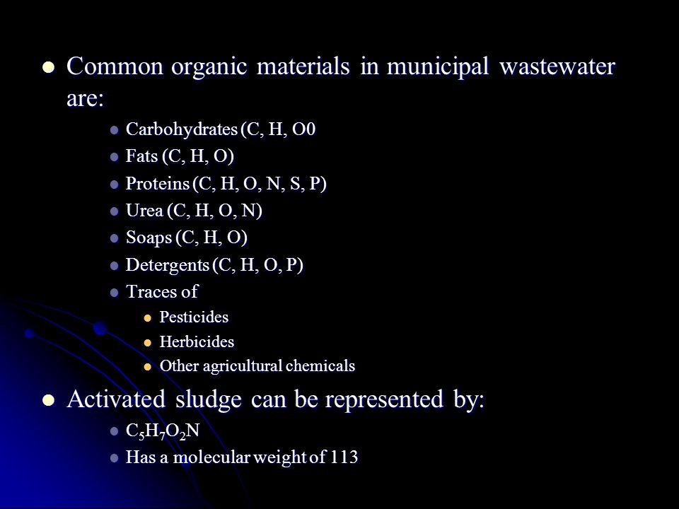 Common organic materials in municipal wastewater are: Common organic materials in municipal wastewater are: Carbohydrates (C, H, O0 Carbohydrates (C,