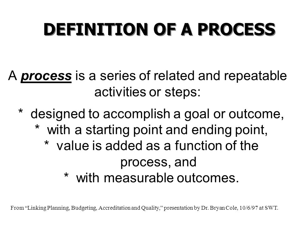 A process is a series of related and repeatable activities or steps: * designed to accomplish a goal or outcome, * with a starting point and ending po