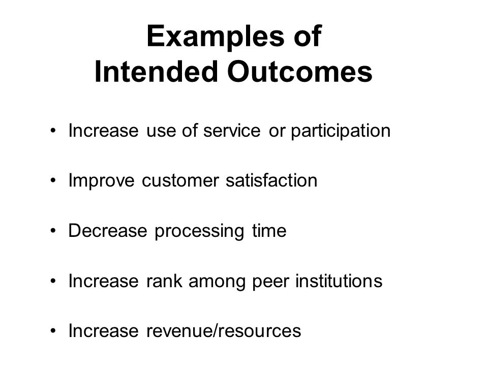 Examples of Intended Outcomes Increase use of service or participation Improve customer satisfaction Decrease processing time Increase rank among peer